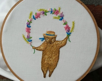 Spring Bear Hand Embroidery PDF pattern