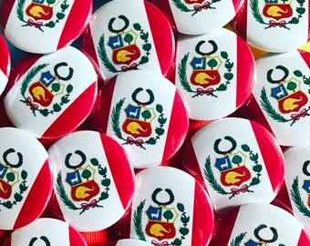 Peru Flag Pinback Button, Magnet, Badge, Peru Flag Button, Peruvian gift, Lima Peru Pin, Souvenir Gift Traveler Peru Flag Keychain, Llama