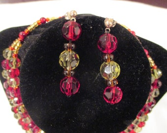Red and Yellow Glass Bead Necklace with Matching Earring