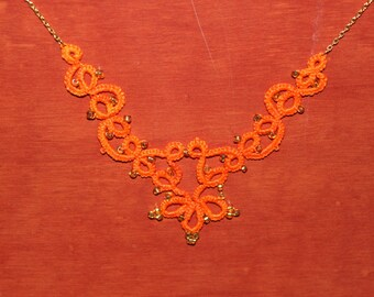 Necklace beads orange cotton lace glass gold tatting