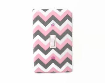 Chevron Light Switch Cover - Pink Grey Nursery Decor - Girls Nursery - Gray Pink Switch Plate