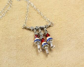 Red, White & Blue Necklace in Swarovski Crystal