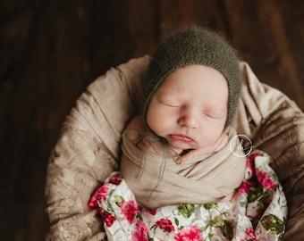 Avery--SALE--Newborn Mohair Bonnet--Knit Bonnet--Newborn Photography Props