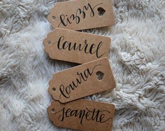 10 Shower/Wedding Place Cards, Rustic Name Tags // Calligraphy