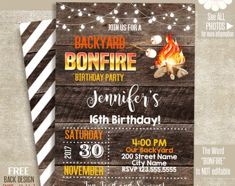 Bonfire and S'mores invitation, Printable Rustic templates, Instant download Self Editable PDF A509