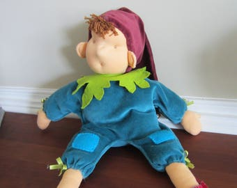 Waldorf doll, gnome, velours toy, boy doll, imaginary play, kids toy