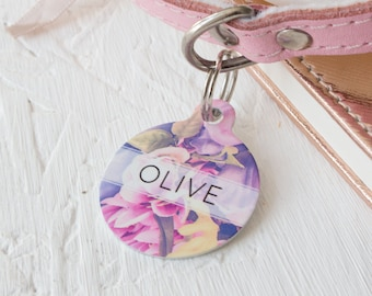 Personalised Floral Pet ID Tag  - Dog Name Identification