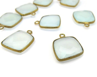 Seafoam Chalcedony Pendant, Natural Gemstone Charm, Gold Plated Bezel, Square Shaped, 13mm x 13mm (C-SF2)