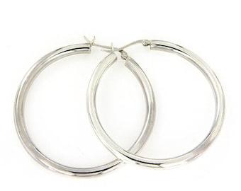 4x50 Plain Hoops Earring, Big Hoops Earring,Silver Earrings,Sterling Silver Hoops Earring
