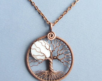White-Moon pendant Super Moon Tree-of-life Full Moon necklace Big-Moon pendant copper round-pendant Lunar jewelry Diameter 1.7 inches MW18