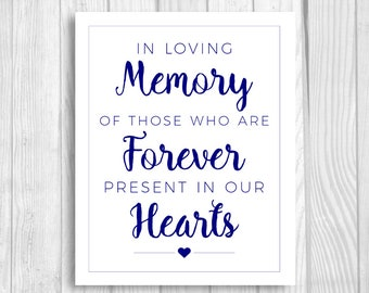 In Loving Memory 8x10 Printable Navy Blue and White Wedding Sign - Those Who Are Forever Present in Our Hearts - Instant Download