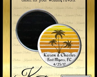 "Beach Wedding Favors, 2.25"" Custom Wedding Magnet, Palm Trees Wedding Favor, Tropical Wedding, Custom Wedding Favors, Wedding Keepsake"