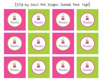 Printable Favor Tags- Gumball Party Collection