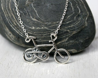 Bicycle Necklace, Sterling Silver Bicycle Necklace