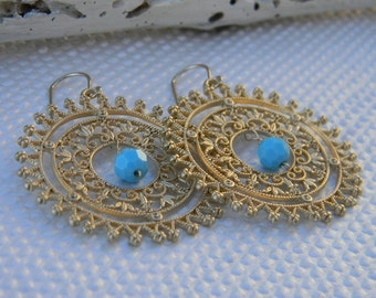 Turquosie Earrings, Turquoise Gold Dangle Earrings, Turquoise Fashion Jewelry, Statement Earrings