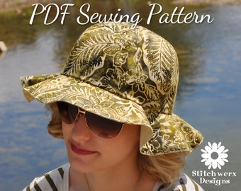 Sun Hat Pattern, PDF Sewing Pattern, Beach Hat Pattern, Womens Hat Pattern, Hat Sewing Pattern, Wide Brim Hat, Sew Beach Hat, Sew Sun Hat