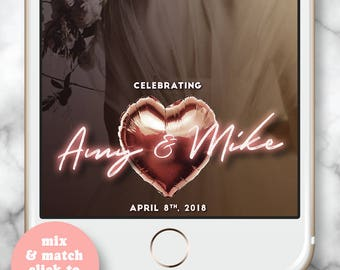 Snapchat Filter Rose Gold * Snapchat Geofilter Wedding, Snapchat Filter Wedding, Snapchat filter Engagement Party, Personalized Wedding Gift