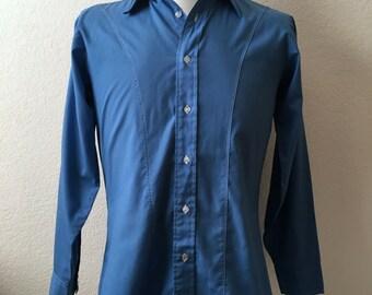 Vintage Men's 70's Blue Shirt, Long Sleeve, Button Down by Arrow (S/M)