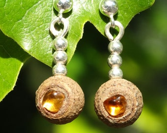 Earrings made of eucalyptus seed pods, citrine and sterling silver spheres.