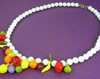 Fruit Salad Vintage Necklace Cha Cha Carmen Miranda White Bakelite Era Boho Chic Tropical Statement Pop Art Modernist Bold Charms Unusual