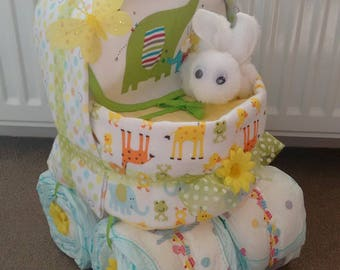 Beautiful Unisex Boy Girl Lemon Pram Baby Nappy Cake Diaper Cake New Baby Gift Baby Shower Christening