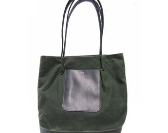 TOTE BAG with POCKET | Waxed Canvas Bag | Water Resistant | Green Tote Bag