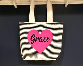 Personalized Beach Bag, Custom Tote Bag, Bridesmaid Bag, Gift for Bridesmaid, Teacher Bag, Custom Beach Bag, Personalized Tote