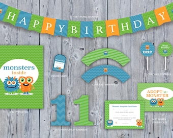 Instant Download • Boys Cute Monster First Birthday Party PRINTABLE Decoration Kit • Monster Party Pack • Birthday Banner • Adopt a Monster