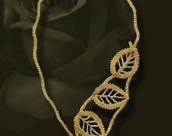 Russian Leaf Earrings With Pearl Beading Pattern Pdf Tutorial