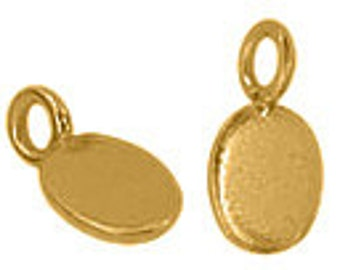 Handmade Bali 24K Gold Filled Vermeil Stamping Blanks Oval Engraving Pendants Jewelry Findings Supplies Tiny with ring - 1pc.