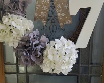 Grey & white monogrammed winter wreath