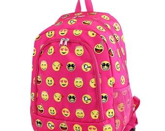 Emoji Monogram Backpack, Personalized Backpack, Monogram Bookbag, Boys Backpack, Pink Backpack, Kids Backpack, School Backpack