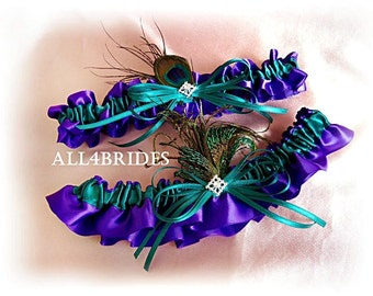 Peacock Feathers Bridal Garters Regency Purple and Teal, Something Blue Wedding Bridal Accessories