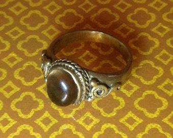 Brass and Smokey Quartz Roman Ring Size 8