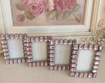 Vintage Pink Rhinestone Set of Four Picture Frames - Shabby Chic Pink