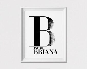 Personalised Initial Wall art, Initial Print, Personalized print, Custom Poster, Minimal, Black and White, Nursery Decor, ArtFilesVicky
