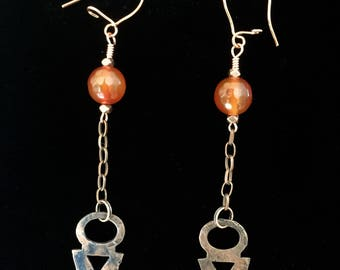 Hammered copper and Carnelian dangle earrings