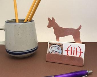 Rat Terrier Business Card Holder, Copper Desk Accessory Ratter gift, gift for dog lovers Rat Terrier items, dog gifts Rat Terriers