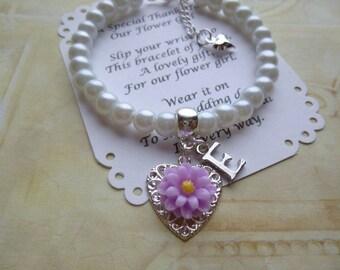 Personalized Flower Girl Bracelet, Pearl Flower Girl Bracelet, Flower Girl Jewelry, Personalized Childs Bracelet, Personalized Kids Bracelet