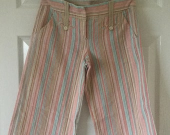 Vintage Cotton Stripe Three Quarter Length Trousers Shorts Capri Pants