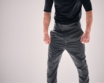 Modern Heather Grey Trousers / Loose Bottom Wool Pants / Futuristic Asymmetric Trousers / Drop Crotch Mens Trousers / Menswear by POWHA