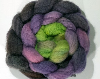 Handdyed BFL Wool Roving - Spooky - black, purple, green