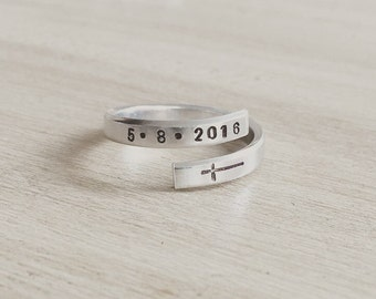 Baptism date hand stamped ring, confirmation date hand stamped ring, baptism gift, confirmation gift, baptism jewelry, confirmation jewelry