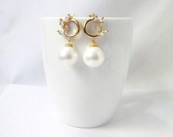 bridal pearl earrings gold, wedding pearl earrings,  large pearl earrings, pearl earrings for wedding, pearl wedding earrings, pearl bridal