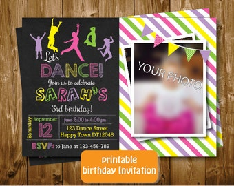 Printable Chalkboard Let's Dance Girls 1st 2nd 3rd Birthday Invitation Pink Yellow Invitation Purple Green Party Banner Invitation