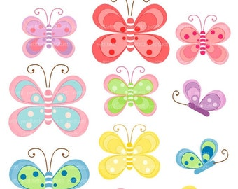 ON SALE butterfly clip art - Digital clip art  for all use, pink butterfly, green butterfly, instant download, butterfly clip art