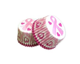 Cancer Awareness Pink Ribbon Cupcake Baking Liner, Greaseproof Paper, Baking Supplies, Cake Decorating, 32 pcs