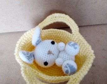 White Bunny Rabbit Boy With Small Basket Crocheted Mini Amigurumi Handmade Easter Gift For Baby And Decor