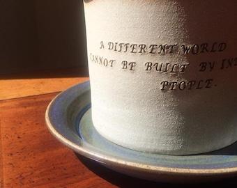 Planter - Stoneware Planter - Inspirational Planter - Handmade Planter - Stamped Planter