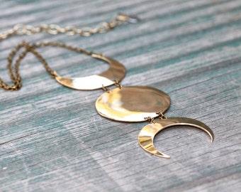 Triple Goddess Necklace - Brass